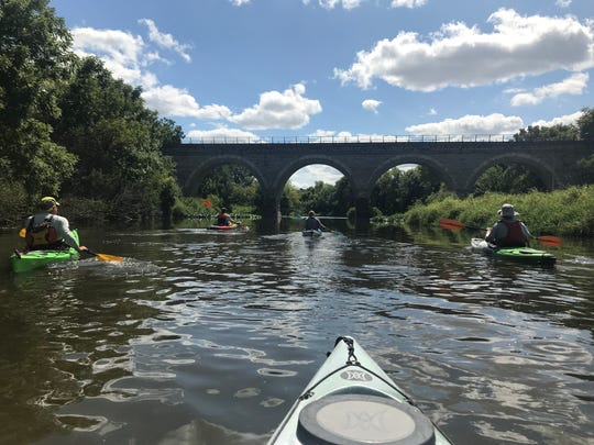 A view of the historic Tiffany Stone Arch Bridge provides a picturesque end to a kayak trip down Turtle Creek in Rock County, Wis. Built in 1869, the bridge is believed to be the oldest stone arch bridge in the state.
