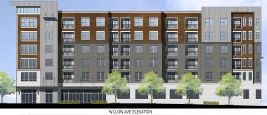 A rendering shows what Stockyard Lofts will look like from Willow Avenue. The mixed-use development will have 152 apartment units and room for one or two retail tenants.
