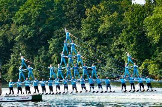 Thirty-five skiers take part in the Rock Aqua Jays' pyramid stunt at a water ski show on the Rock River.