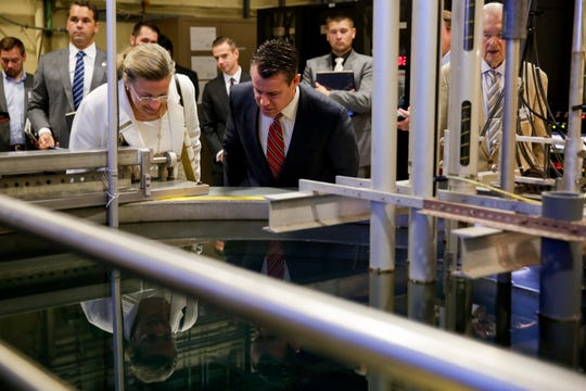 Annie Caputo, commissioner of the U.S. Nuclear Regulatory Commission, left, and Sen. Todd Young, R-Ind. look into Purdue University's Reactor Number 1 (PUR-1), Tuesday, Sept. 3, 2019 at Purdue University's Electrical Engineering Building in West Lafayette. PUR-1 is the first all-digital nuclear reactor system in the U.S. licensed by the Nuclear Regulatory Commission.