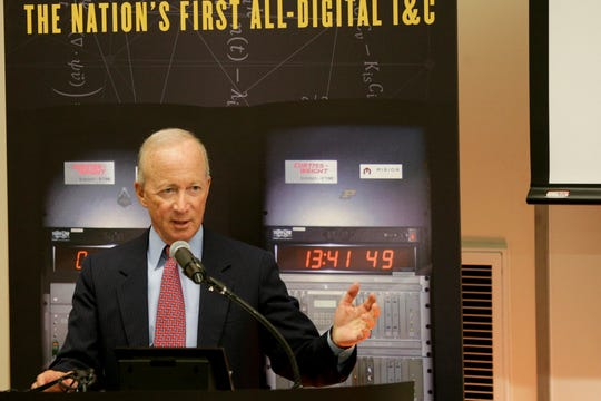 Purdue University president Mitch Daniels speaks during a dedication ceremony for Purdue University's Reactor Number 1 (PUR-1), Tuesday, Sept. 3, 2019 at Purdue University's Electrical Engineering Building in West Lafayette. PUR-1 is the first all-digital nuclear reactor system in the U.S. licensed by the Nuclear Regulatory Commission.