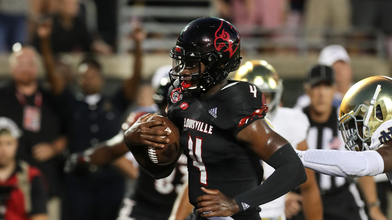 online store 7c47d dea32 Louisville quarterback Jawon Pass chooses to run against ...