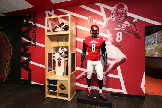A wall has been dedicated to Heisman Trophy winner Lamar Jackson in the new players lounge in the Howard Schnellenberger Football Complex at Cardinal Stadium.Sept. 3, 2019
