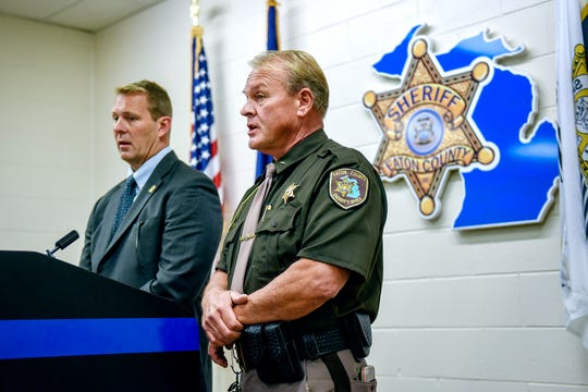 Eaton County Sheriff Tom Reich, right, and Eaton County Prosecutor Douglas Lloyd hold a press conference after announcing that charges have been authorized against Julian Guadalupe Revilla for the murder of Suzann Fedewa at the sheriff's office on Tuesday, Sept. 3, 2019, in Eaton Rapids.