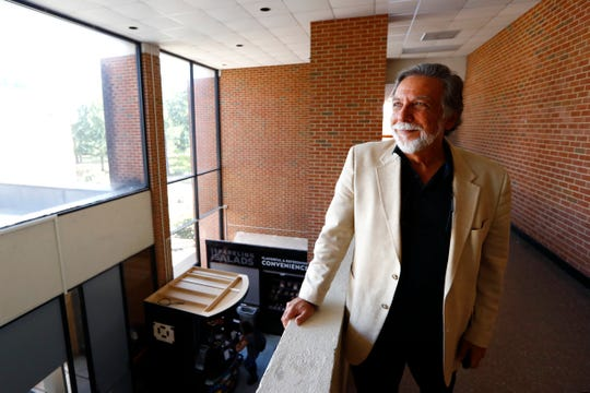 University of Memphis professor Steve Ross, who is set to retire this year, poses for a portrait before the start of his class focusing on the film noir genre at the Theatre Building on the university's campus on Tuesday, Sep. 3, 2019.