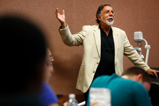 University of Memphis professor Steve Ross, who is set to retire this year, teaches a class focusing on the film noir genre at the Theatre Building on the university's campus on Tuesday, Sep. 3, 2019.