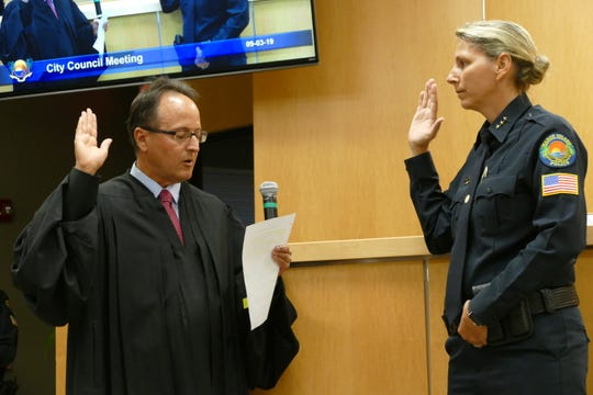 Tracy L. Frazzano swore in as the new Marco Island Police chief on Sep. 3, 2019. From left to right, judge Ramiro Manalich and Marco Island Police chief Tracy L. Frazzano.