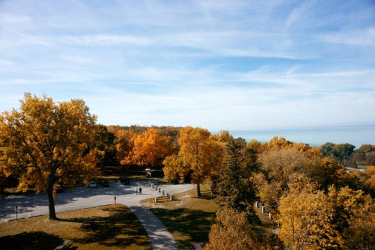 The observation tower at High Cliff State Park provides views of fall colors and Lake Winnebago.