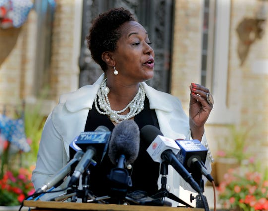 State Sen. Lena Taylor announces her candidacy for Milwaukee mayor at her home Tuesday.