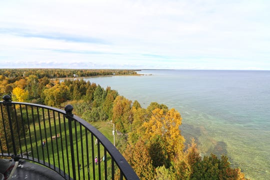 The colors of fall are visible from the catwalk at the top of the Cana Island Lighthouse tower in Door County.