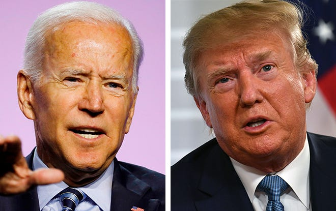 Former Vice President Joe Biden, left, and President Donald Trump