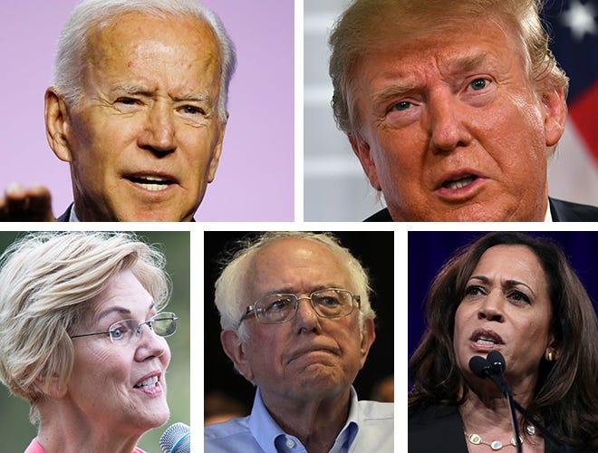 (Clockwise from upper left) Former Vice President Joe Biden, President Donald Trump,  Sen. Kamala Harris, Sen. Bernie Sanders, Sen. Elizabeth Warren.