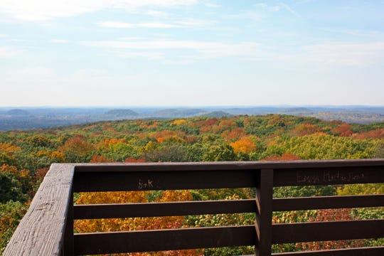 Fall colors surround glacial kames that are visible from the top of the Parnell Tower in the Kettle Moraine State Forest-Northern Unit.