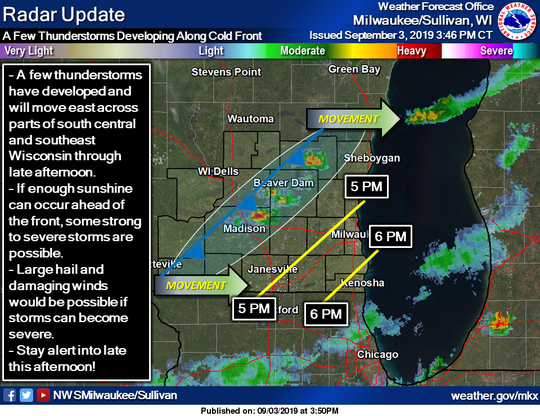 Thunderstorms were developing along  a cold front in southern and eastern Wisconsin on Tuesday afternoon.