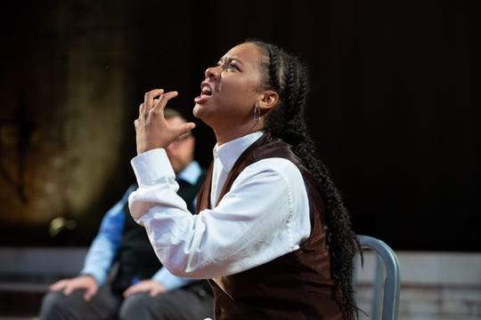 "Dria Brown in a scene from Alabama Shakespeare Festival's production of ""Hamlet,"" being presented by members of New York's Bedlam theater company. Four actors - Dria Brown, Edmund Lewis, Andy Rindlisbach and Mike Labbadia - play all the roles in productions of both ""Hamlet"" and ""Saint Joan"" at ASF."