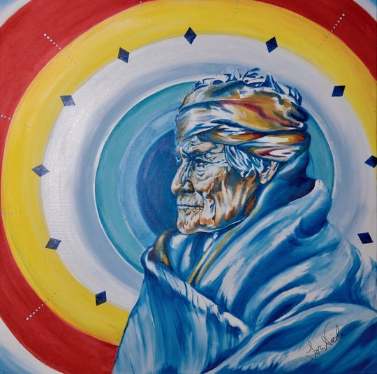 Tori Jackson's painting of Geronimo, a medicine man of the Apache tribe who lead a resistance against the U.S. and the Mexican military in 1848.