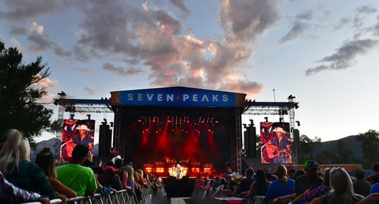 During a beautiful sunset Sunday, Sept. 1, 2019, John Pardi performs on the main stage at the Seven Peaks Music Festival in Buena Vista, Colo. The three-day music and camping festival is produced by country singer Dierks Bentley.