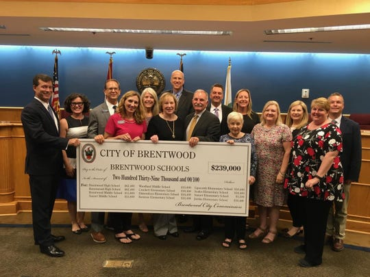 The Brentwood City Commission awarded nearly $240,000 to Williamson County schools that serve Brentwood students last month. The city donates money from its general fund each year to local schools and community organizations.
