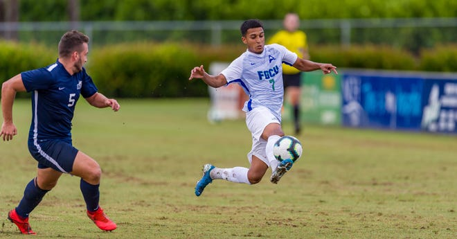 FGCU's Ivan Rosales controls the ball in a preseason game against Nova Southeastern. Rosales helped the Eagles to a win and a tie against a pair of ranked foes in Michigan and Michigan State over the weekend. Rosales scored goals in each game. FGCU entered the national rankings this week at No. 18.