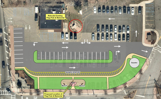 The renovated commuter lot will retain senior parking (top right), but will add parent/visitor parking (center), and a park along Franklin Avenue.