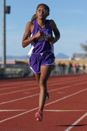 Kirtland Central's Aisha Ramone, seen here at the 2018 District 1-4A cross country championships on Friday, Nov. 2, 2018 in Shiprock, won her final two races of 2018 and looks to build on that final stretch.