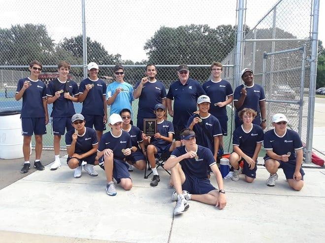 The Livonia Stevenson boys tennis team won the Livonia city tennis tournament title.