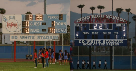 A split image with the old Indio High School football scoreboard on the left and the new which debuted Friday on the right.