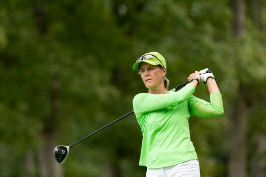 Caryn Wilson of Rancho Mirage plays her tee shot at the third hole during the semifinal round at the 2019 U.S. Senior Women's Amateur at Cedar Rapids Country Club in Cedar Rapids, Iowa.