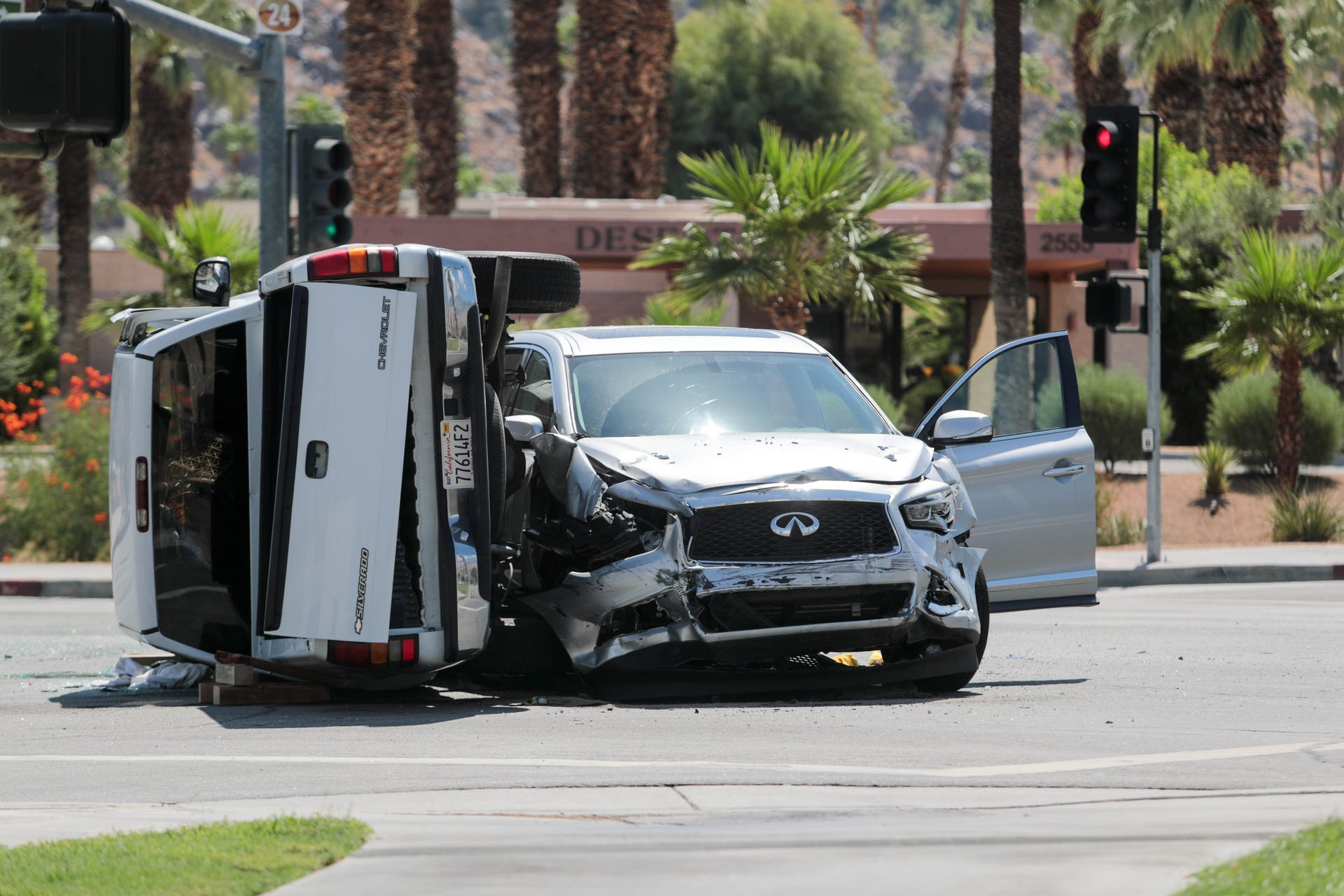 Photos: Two-car collision closes part of East Palm Canyon Drive