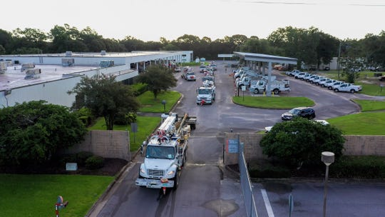 Gulf Power crews leaving to help restoration efforts before Hurricane Dorian makes landfall. Pensacola, Florida on September 2, 2019.