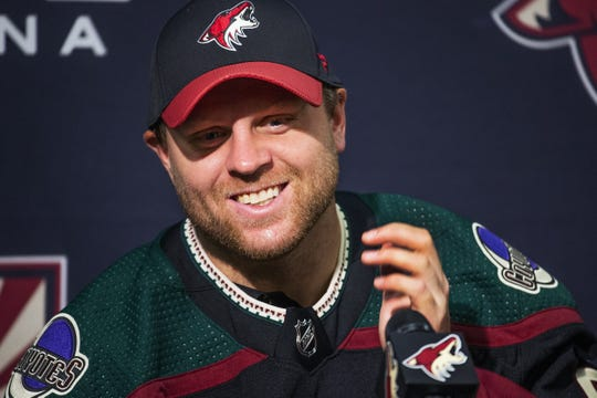 Arizona Coyotes forward Phil Kessel answers questions from the media at a press conference at Gila River Arena, Tuesday, September 3, 2019.