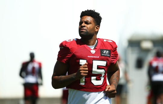 Receiver Michael Crabtree (15) is seen during a practice Sept. 2 ahead of the Cardinals' Week 1 game against the Lions.