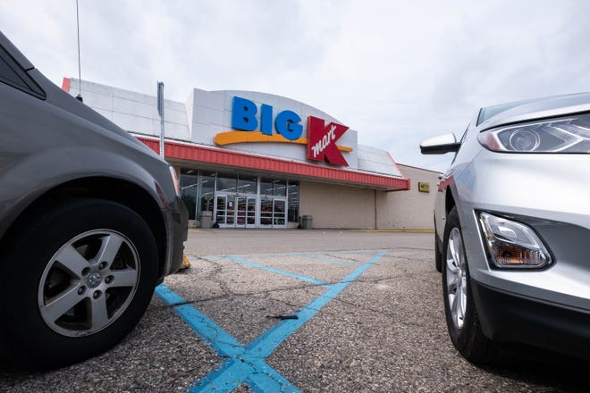 Several cars are parked in the lot in front of the Marine City Kmart Tuesday, Sept. 3, 2019.