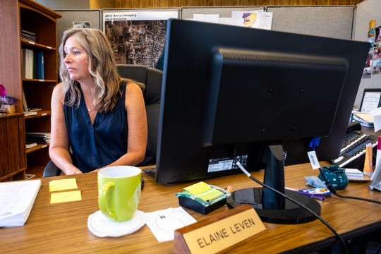 Marine City City Manager Elaine Leven discusses Kmart's closing during an interview Tuesday, Sept. 3, 2019, in her office.