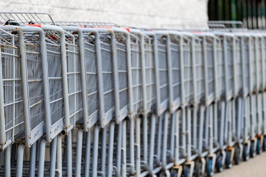 Rusted shopping carts are lined up outside the Marine City Kmart Tuesday, Sept. 3, 2019.