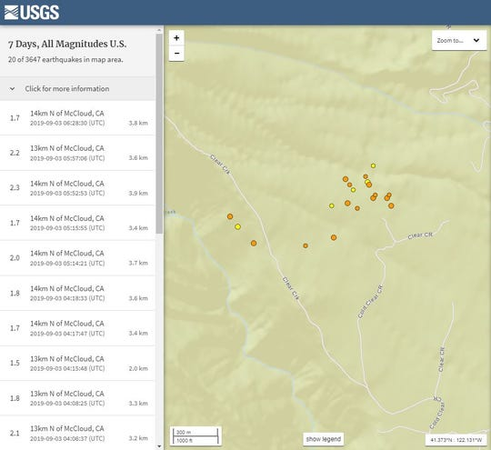 This screenshot of a USGS Earthquake map shows 20 small earthquakes within about 8.5 miles of McCloud from Sunday night to Tuesday morning.