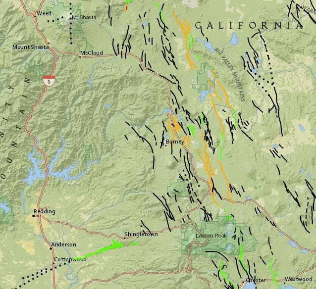 USGS map of fault lines  from from Mt. Shasta to Burney.