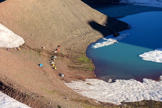 A cluster of campsites at No Name Lake below Broken Top in the Three Sisters Wilderness.