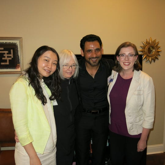"""New staffers at LSUS, Yannan Shen, Mary Lind, Syed Zaidi, Sarah Mazur,  were among guests at Larry and Georgia Clark's """"Meet and Greet."""""""