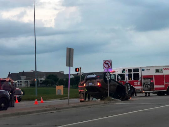 Three people were transported to the hospital after a rollover car crash on Louise Avenue and I-229 on Monday.