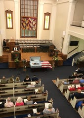 A funeral service for Lloyd Hoover, 94, who fought in World War II, Korea and Vietnam, was held Tuesday, Sept. 3, 2019, at Central Christian Church, Disciples of Christ in Springfield, Mo.