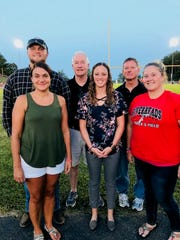 """Riverheads inducted six new members into its Red Pride Hall of Fame at a banquet held on Saturday. Forming the class of 2019 are, from left,  Mike Herndon, Megan LaPorte Jaggers, Doug Brubeck, Brittany Snyder Tankesley, Charlie """"Moochy"""" Coiner, and Laura Toner Doyle."""