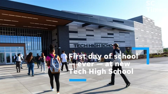 New students met with upperclassmen Tuesday at St. Cloud school district's new high school, which replaced a 102-year-old Technical High School.