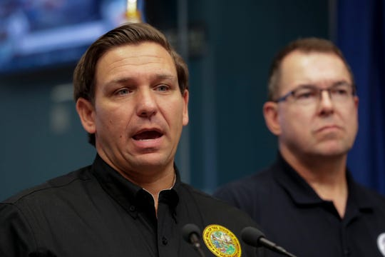 Gov. Ron DeSantis, joined by FEMA Acting Administrator Pete Gaynor, speaks at the State Emergency Operations Center with an update on Hurricane Dorian Tuesday, Sept. 3, 2019.
