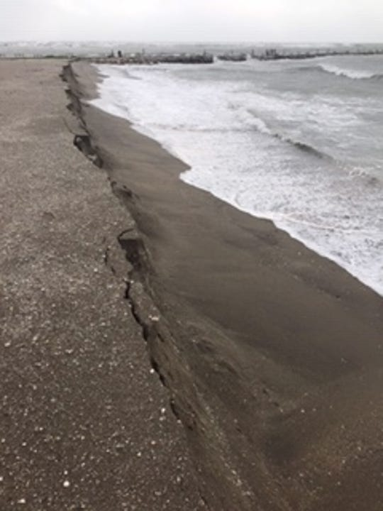 Hurricane Dorian chewed into the shoreline just south of Jetty Park on Fort Pierce South Beach, as seen Tuesday morning, Sept. 3, 2019.