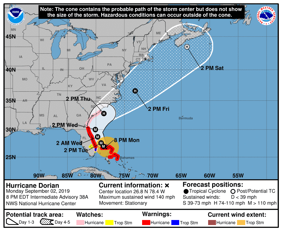 image about Printable Hurricane Tracking Maps referred to as Hurricane Dorian monitor up grade: Are living map demonstrates where by Dorian