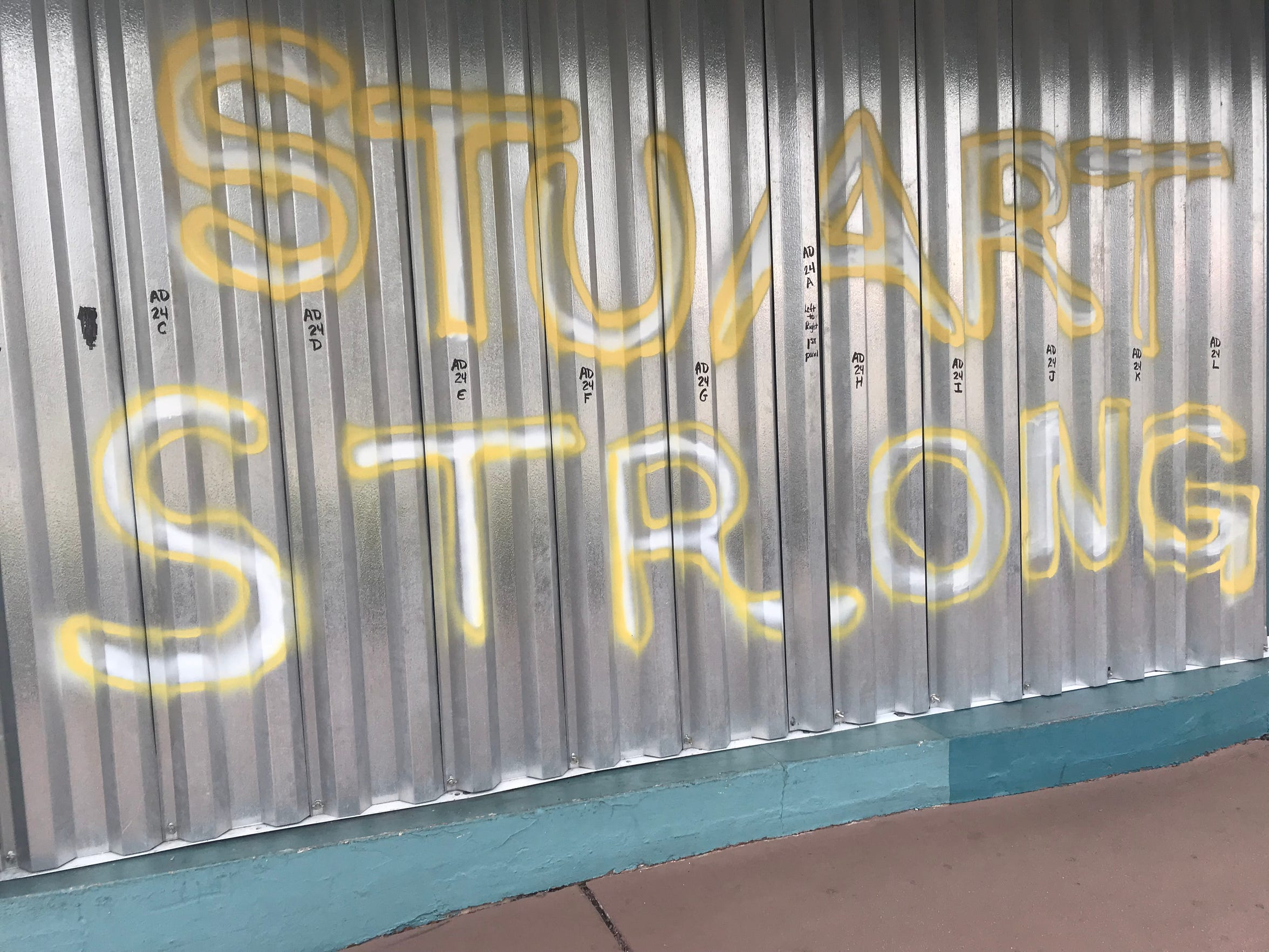 Shutters and wood planks seen in downtown Stuart in Martin County on Monday, Sept, 2, 2019. At this time, Hurricane Dorian was over the Grand Bahama Island.
