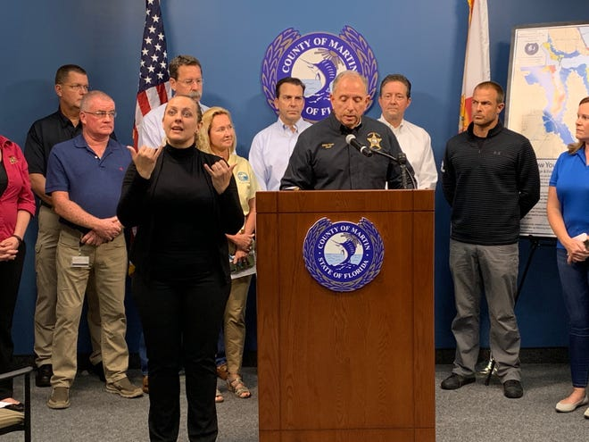Martin County Sheriff William Snyder lifts a mandatory evacuation order during a media briefing Sept. 3, 2019. All district-operated schools and offices will reopen Thursday.