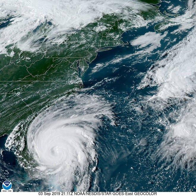 This Tuesday, Sept. 3, 2019, satellite image shows Hurricane Dorian off Florida's east coast.