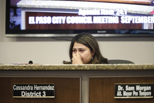 District 3 city rep. Cassandra Hernandez listens to constituents ask the council to not call a special election to replace her during Tuesday's meeting.